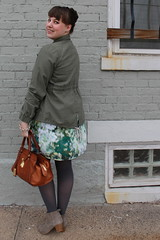 "St. Patrick's Day outfit: watercolor dress, embellished military jacket: Anthropologie ""Itinerant Anorak"", gray tights, gray ankle boots"