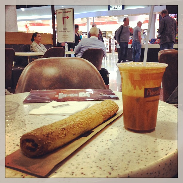 Priceless. Greek coffee 'frappe' and feta pastry at Athens airport
