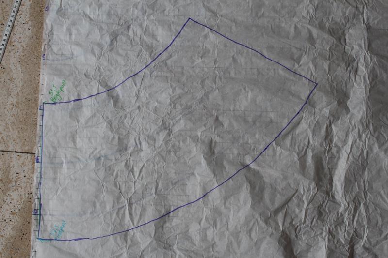 2e zijkant van patroon getekend