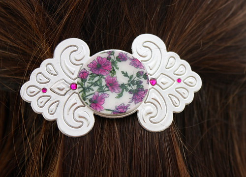 Faux Porcelain Barrette close up in hair Pink