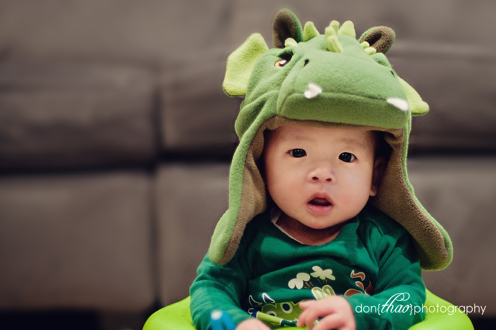 dragon baby boy in dragon hat, 5 month old photo session in Grand Rapids, MI