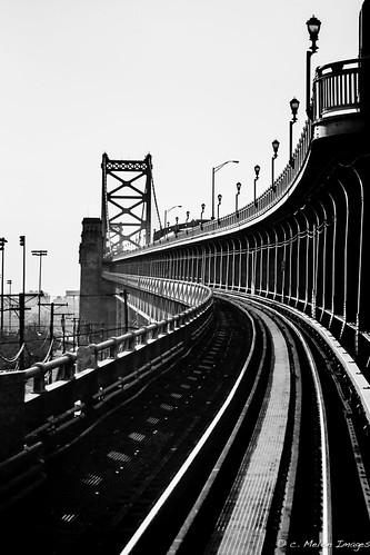 railroad bridge bw white black lines contrast train canon 50mm mono vanishingpoint spring dof bend ben bokeh geometry symmetry benfranklinbridge benfranklin canon50mmf14 2013 dirtywindowseries