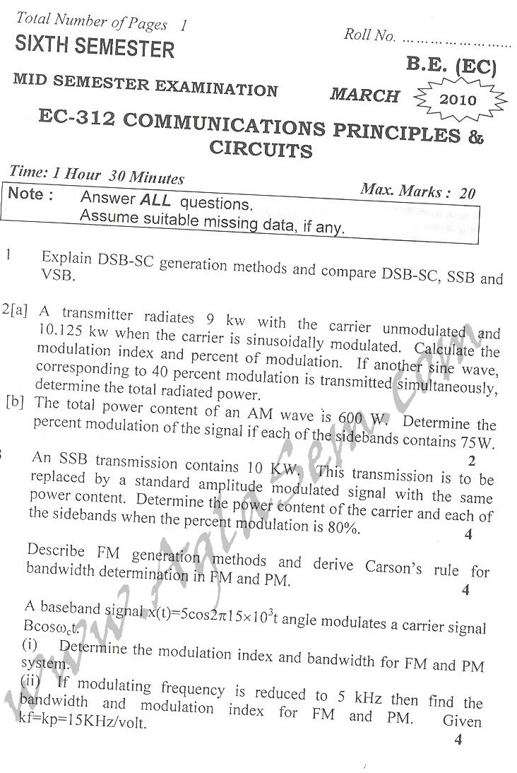 DTU Question Papers 2010 – 6 Semester - Mid Sem -  EC-312