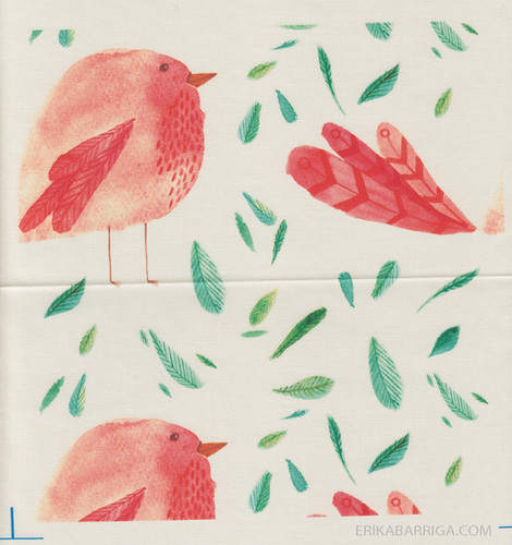 raspberry bird and leaves fabric fat quarter