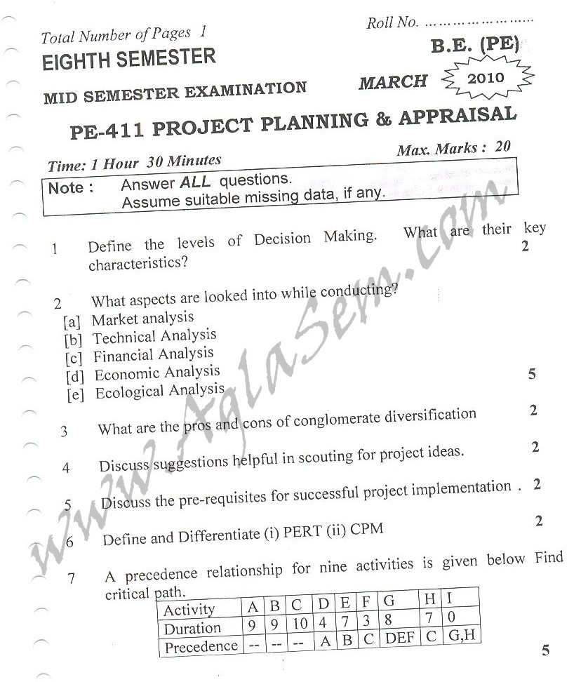 DTU Question Papers 2010 – 8 Semester - Mid Sem - PE-411