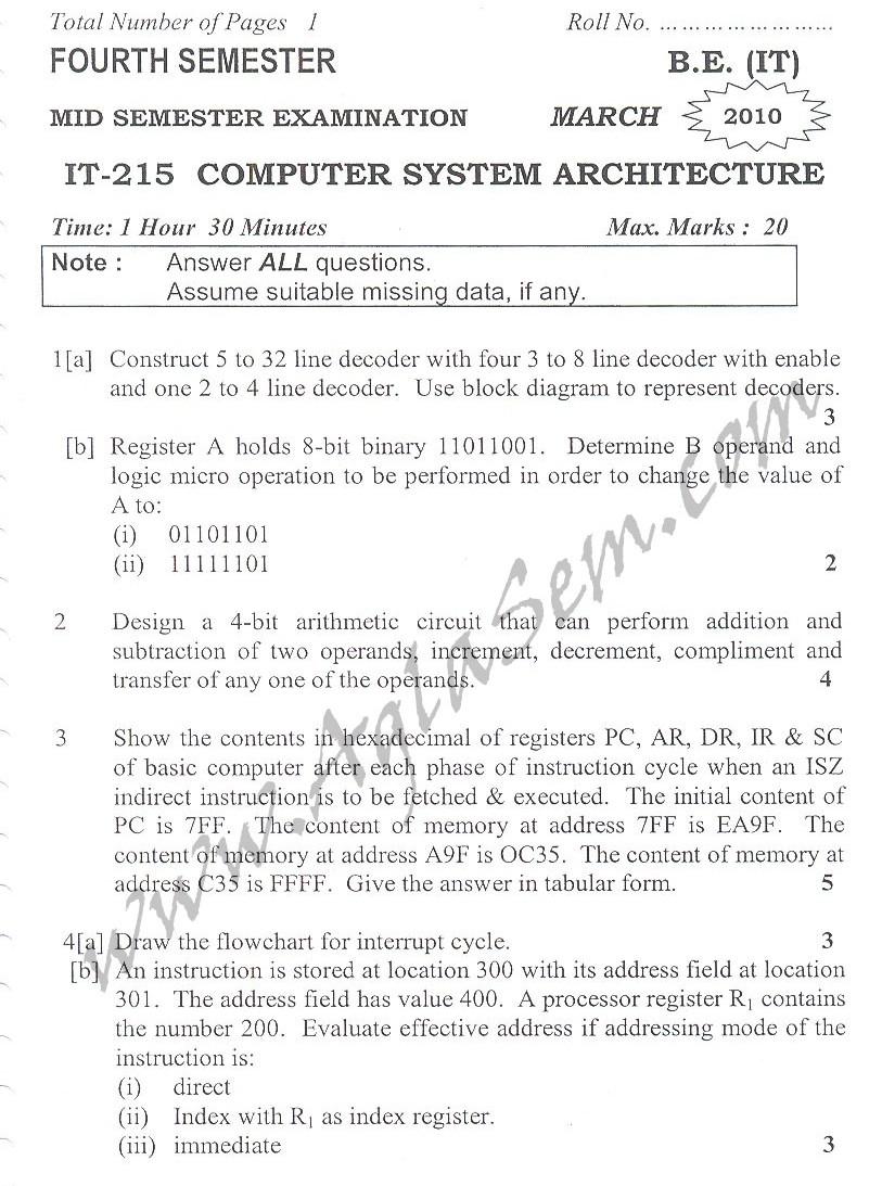 DTU Question Papers 2010 – 4 Semester - Mid Sem - IT-215