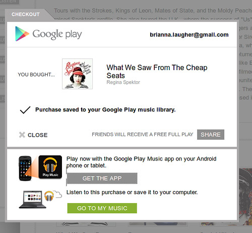 Google Play music purchase checkout