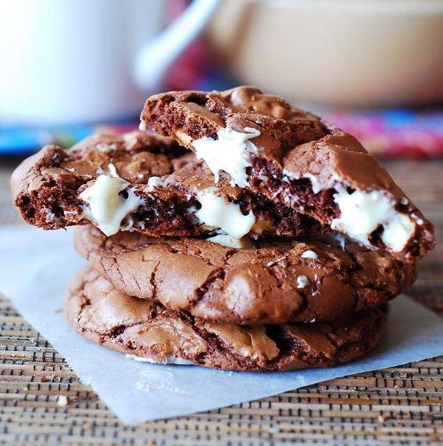 Outrageous chocolate cookies with white chocolate chips