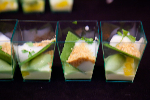 Cucumber Ice Cream, Jasmine Cream, Pineapple, Chartreuse Foam, and Smoked Cashew Nougatine by Malcolm Livingston II of wd~50