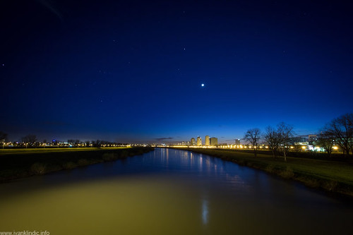 blue moon reflection night canon buildings river landscape photography coast long exposure view zagreb hour 1740 sava 6d