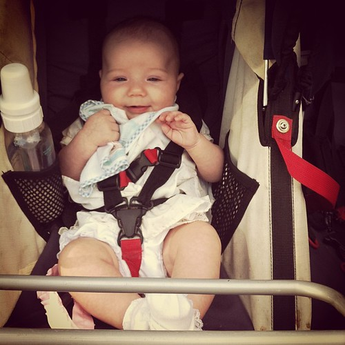 First time sitting up like a big girl in the Bob stroller.