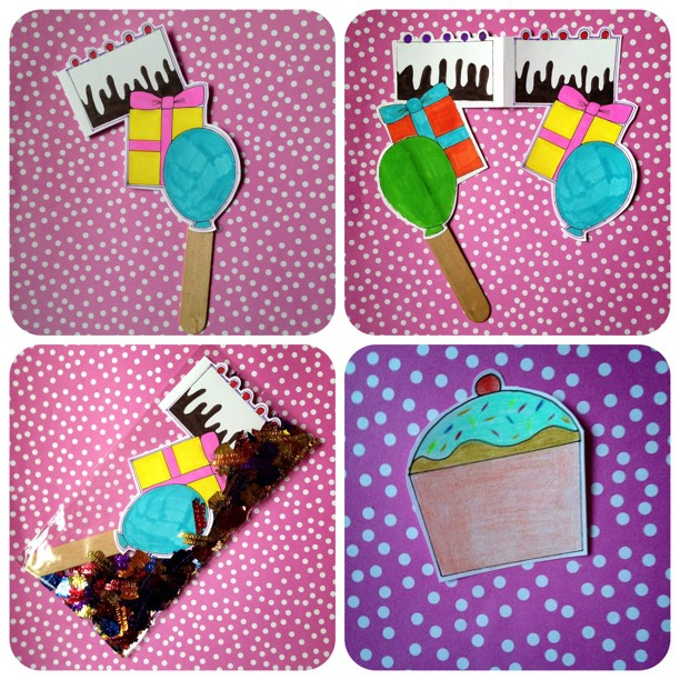 A friend saw my elevated envelope lollipops and told me she wanted something like it. As its her birthday I decided to make a #cake #present and #balloon #icelolly. The #cupcake is the address label. As you can see I included #birthday #confetti for this