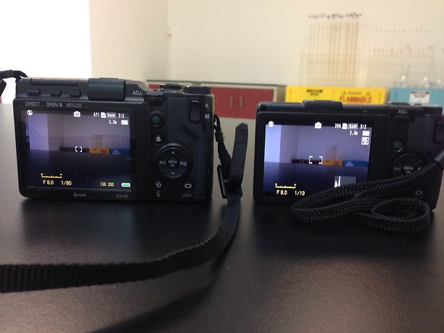 On the left, the Ricoh GXR with an APS-C sensor. On the right, the Ricoh GRD IV with a small sensor. Now in the GR, we can have both!