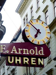 Neon Clock Sign of Arnold Juwelers & Watches in Vienna Austria
