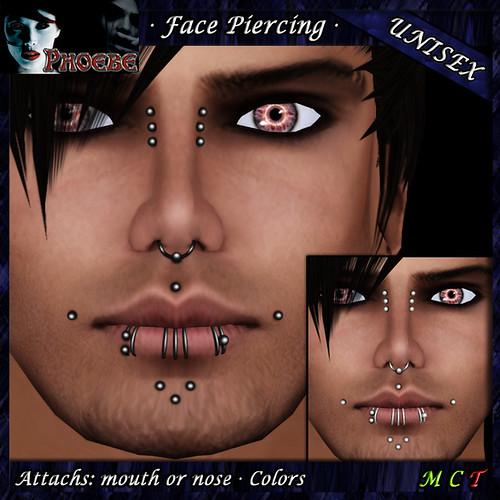 [$55L PROMO] *P* Unisex Face Piercing ~ Serie K4 ~ Silver & Black