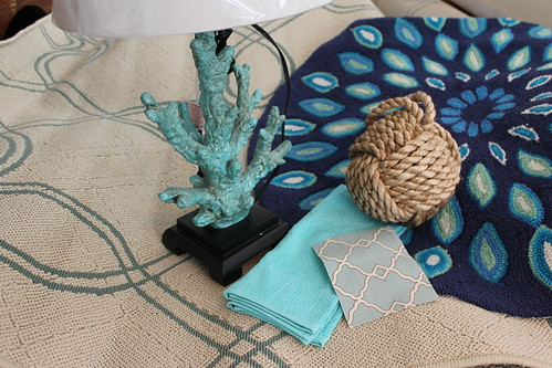 Beach House decor. Coral lamp. Aqua and blues. Nautical knot.