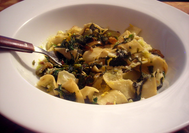 Winter greens with lemon and garlic, homemade tagliatelle