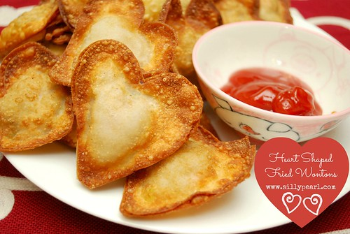 Heart Shaped Fried Wontons on Multiples in the Kitchen by The Silly Pearl