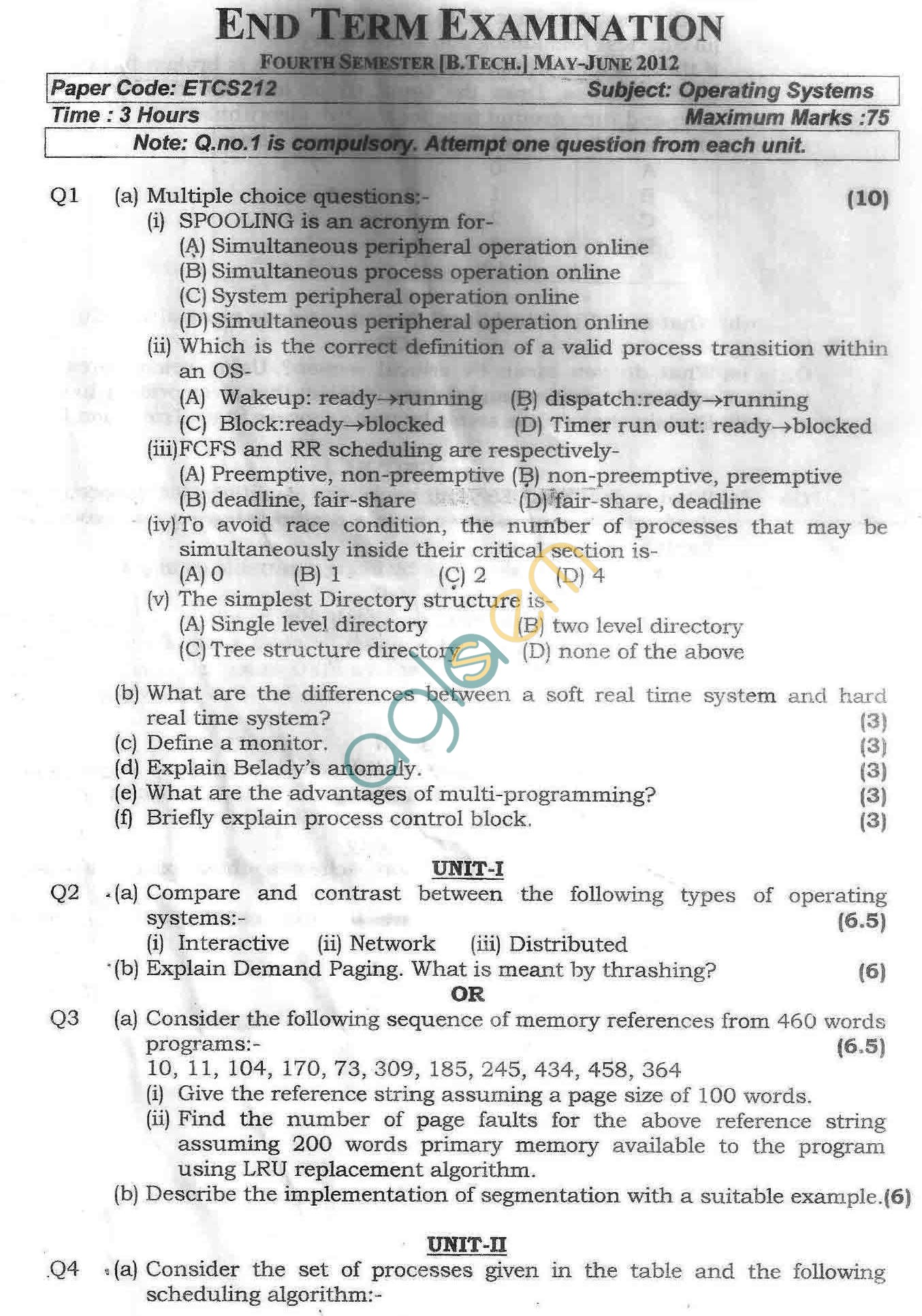 GGSIPU Question Papers Fourth Semester – end Term 2012 – ETCS-212