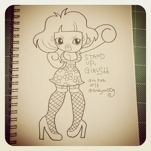STAND UP :)) #tokyo #japan #me #drawing #sketch #sketchbook #graffiti #artwork #illustration #illustrator #girl #girls #standup #babymoog #heels #heel #tights #garter #onepiece #bunny #rabbit #flower #belt #border #fashion