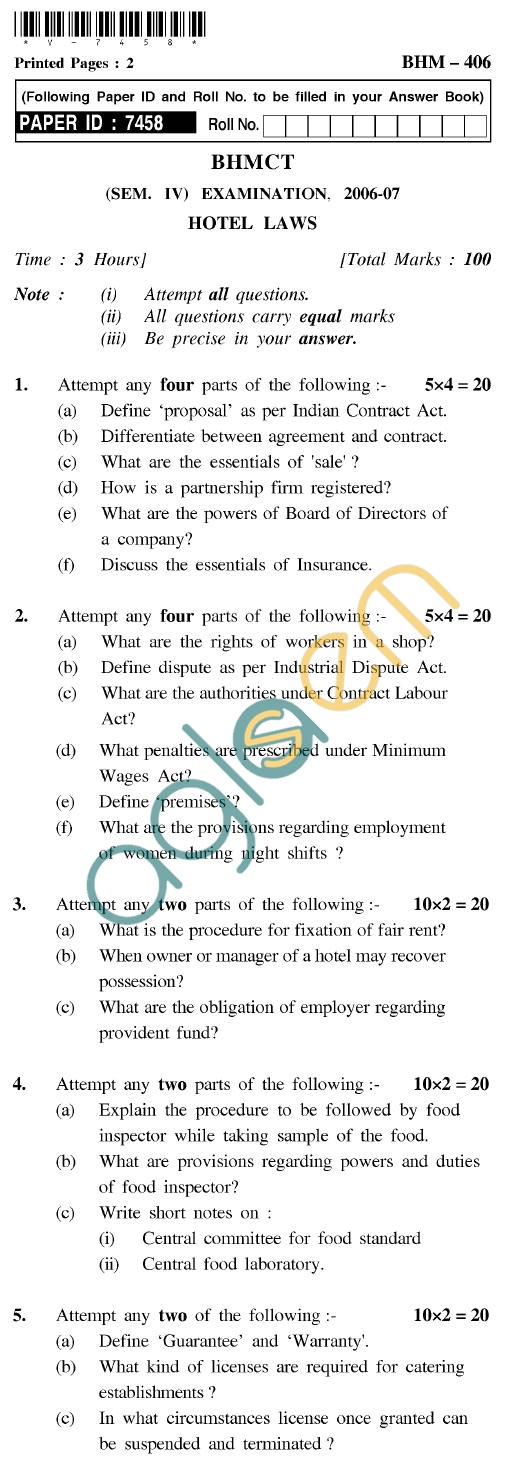 UPTU BHMCT Question Papers -BHM-406-Hotel Laws