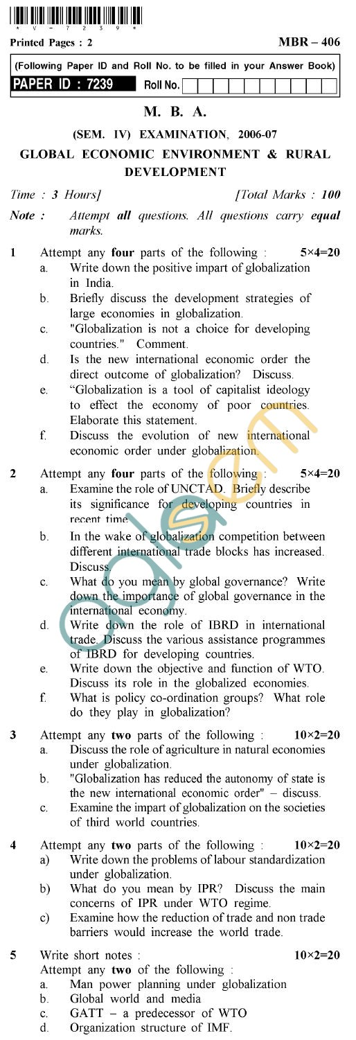 UPTU MBA Question Papers - MBR-406-Global Economic Environment & Rural Development