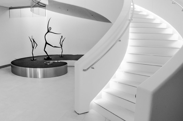 Stairway, Lighted, Curved, Statutes, Dancing Sprites, Monochrome