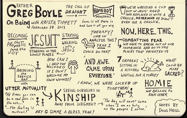 Sketchnotes of Fr. Greg Boyle's Interview with Krista Tippett