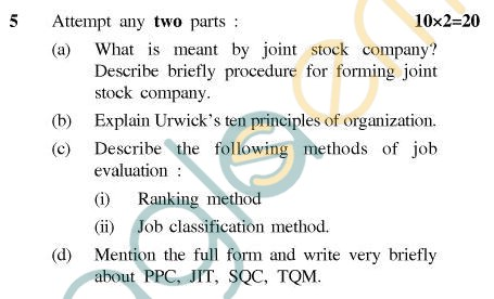 UPTU B.Tech Question Papers - TME-401 - Industrial Engineering