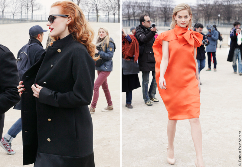 Jessica Chastain and Leigh Lezark at Paris Fashion Week FW13 by Carin Olsson (Paris in Four Months)