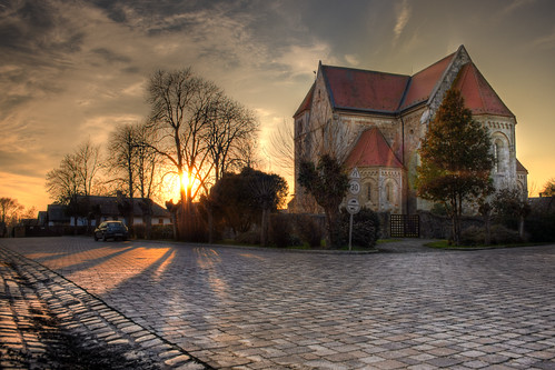 street sunset shadow church flare hdr ywpn