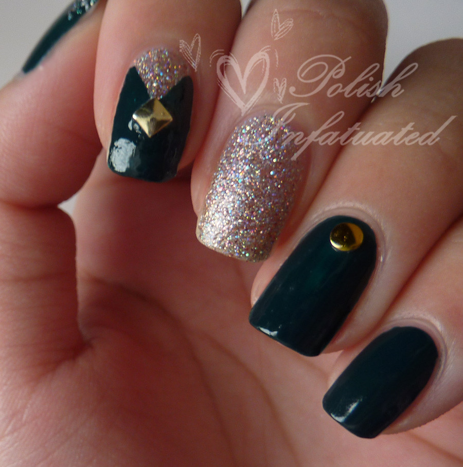teal, glitter and studs
