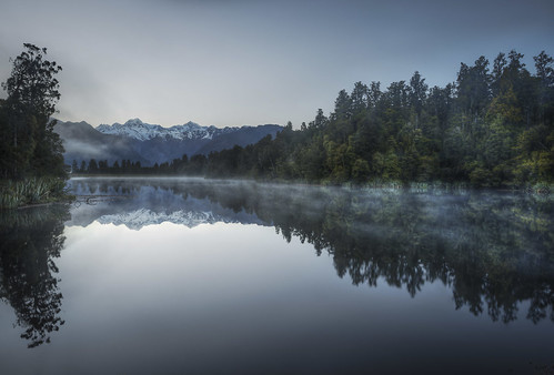 wood morning newzealand mist mountains art misty forest reflections bluehour hdr highdynamicrange lakematheson mountcook mounttasman