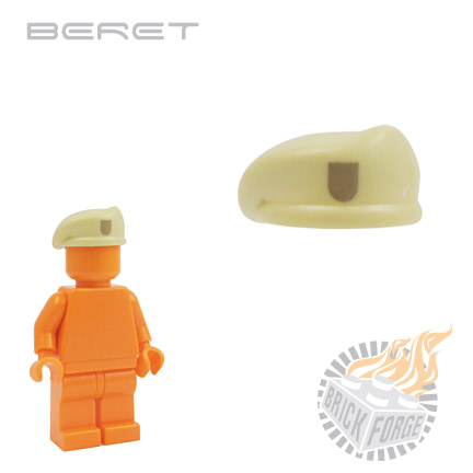 Beret - Tan (dark tan badge print)