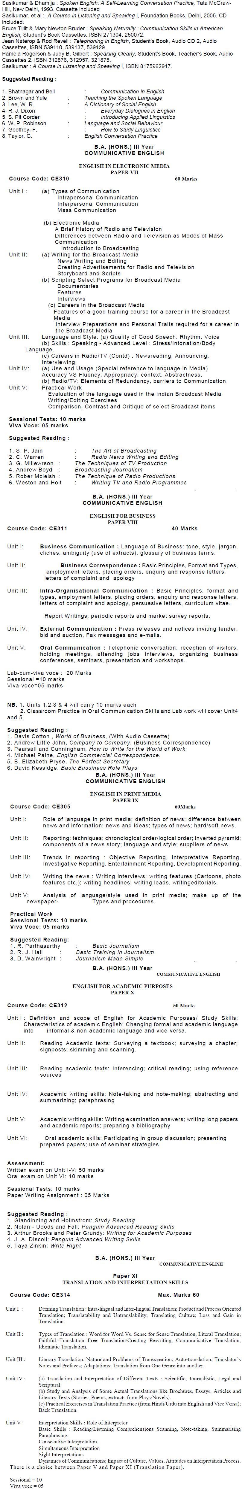 AMU Syllabus - Arts - M. A. English/M. A. ELT