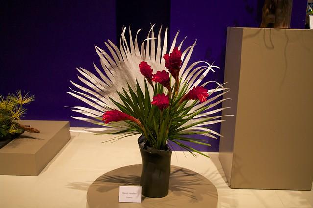 Ikebana Arrangement With Fan Like Background