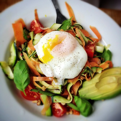 "Carrot & Zucchini ""Pasta"" with Poached Egg"