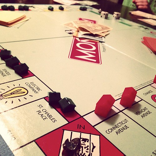 Monopoly with the slumlord, @joshhudnall, and the cover-stealing children.