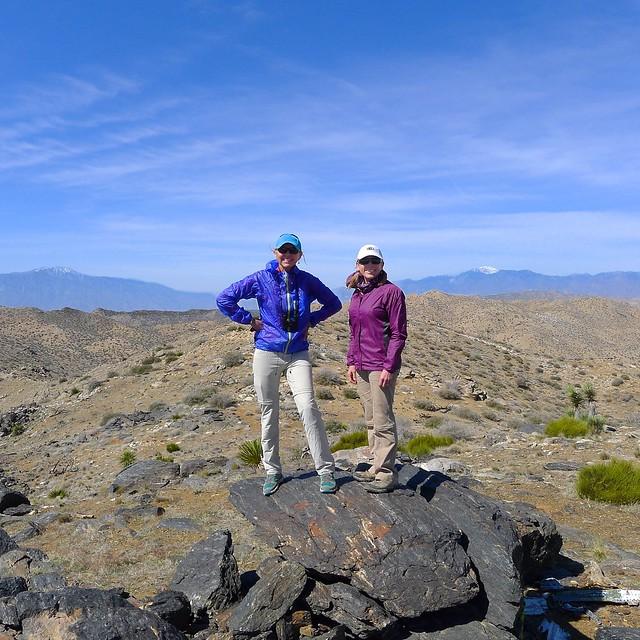 Quail Mountain Summit -San Jacinto left, San Gorgonio right
