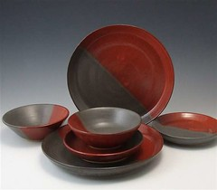 Red and Grey Dinner Set