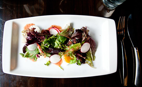Roasted golden and red beets, goat cheese salad