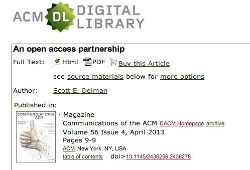 "An Open Access Partnership by Scott Delman ""Buy this article:"