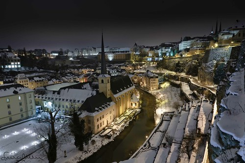 old city winter snow abbey night europe long exposure hiver explore exposition neige luxembourg nuit ville vieille abbaye grund longue neumunster explored