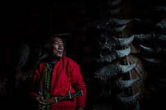 portrait of an old shaman, Apatani tribe