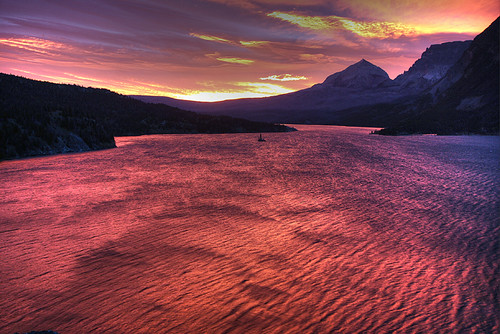 usa mountain lake sunrise rockies montana glaciernationalpark