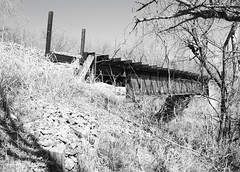 Railroad Bridge over Long Branch at I-45, Ferris, Texas 1303271146BW