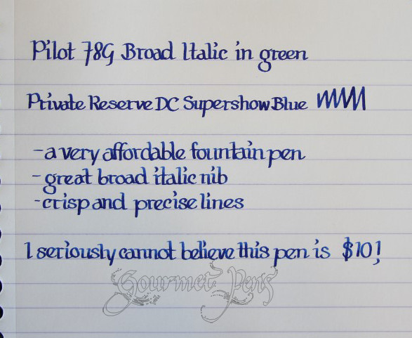 Pilot 78G Writing Sample