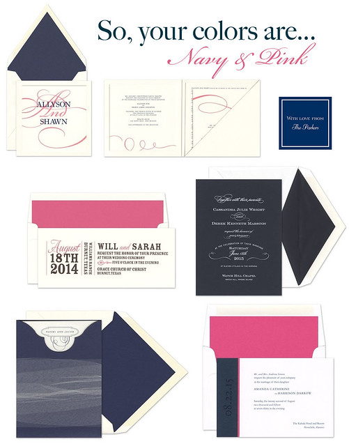 Wedding Invitation Showcase: Navy & Pink