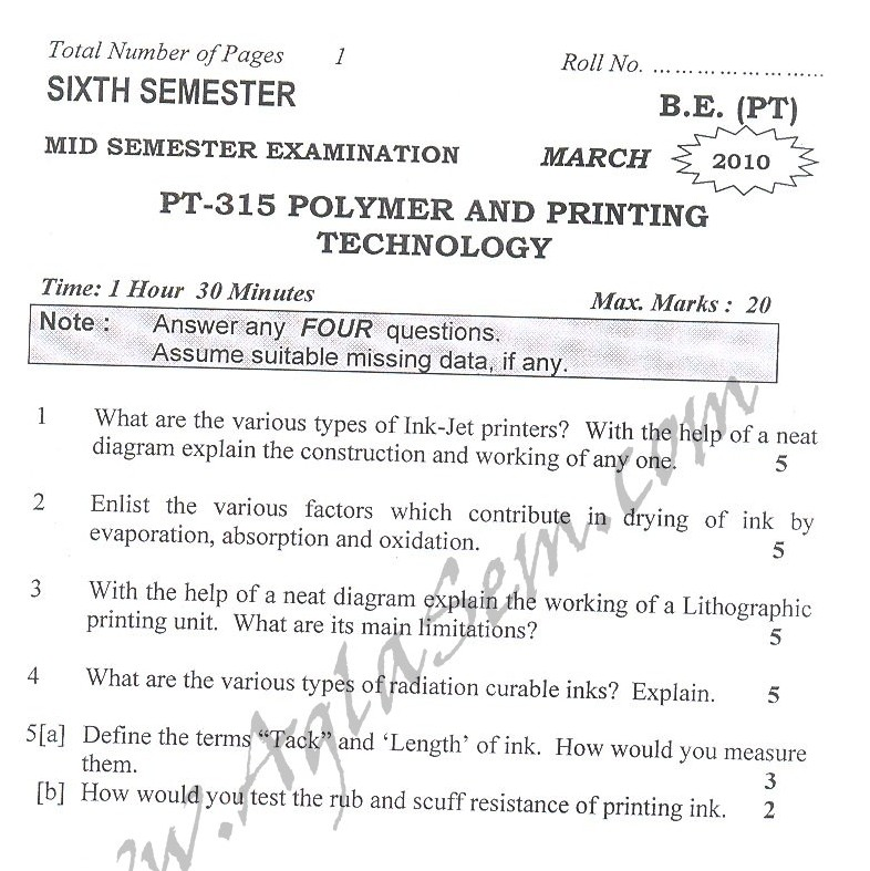 DTU Question Papers 2010 – 6 Semester - Mid Sem - PT-315