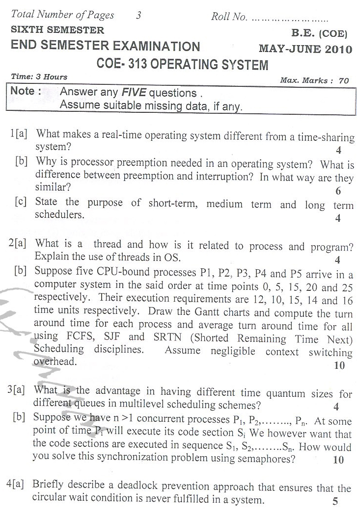 DTU Question Papers 2010 – 6 Semester - End Sem - COE-313